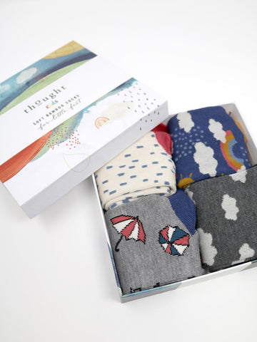 Overcast Bamboo Kids Weather Socks Gift Box by Thought-bamboofeet