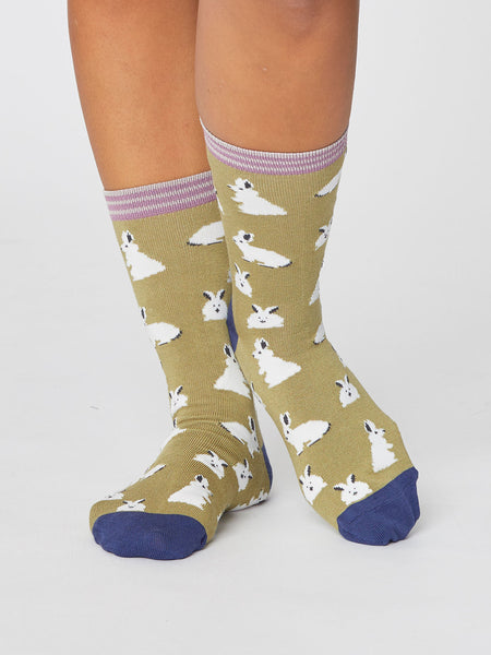 2 Pack Bunny Rabbit Bamboo Socks In A Bag by Thought, Size 4-7-bamboofeet
