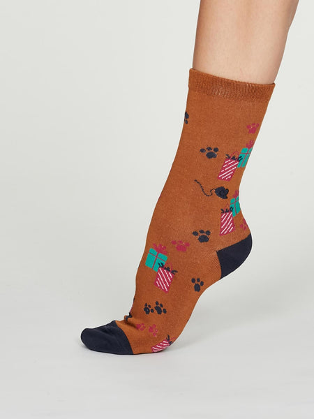 Lora Bamboo Party Cat Socks in a Sock Bag, 2 Pack by Thought, Size 4-7-bamboofeet