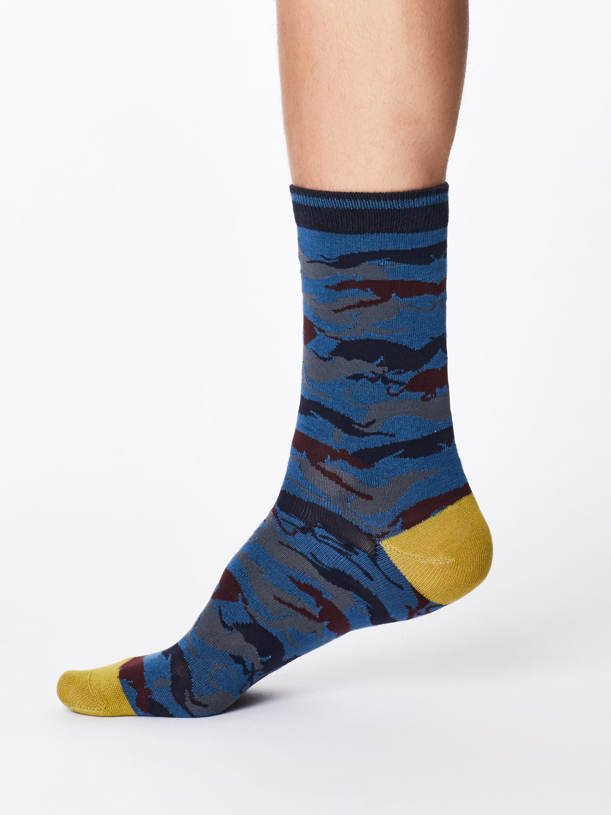 Jackie women/'s soft plain bamboo crew socks in denimBy Thought