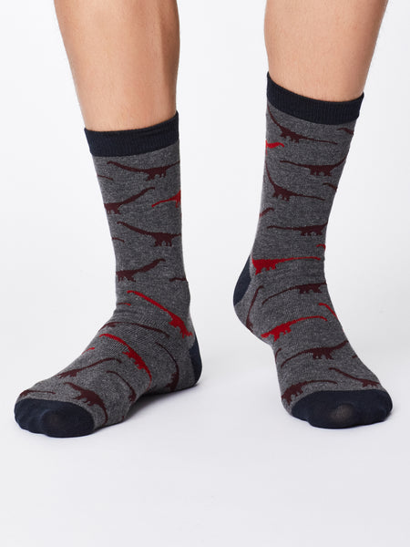 Dinosaur Bamboo Socks in Mid Grey Marle by Thought-bamboofeet