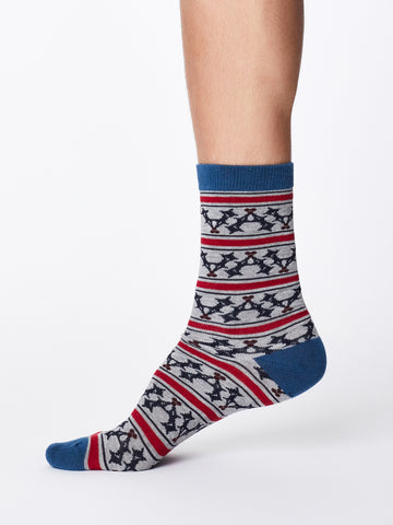 Festive Holly Bamboo Socks in Grey Marle by Thought, Size 7-11-bamboofeet