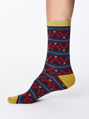 Festive Holly Bamboo Socks in Navy by Thought, Size 7-11-bamboofeet