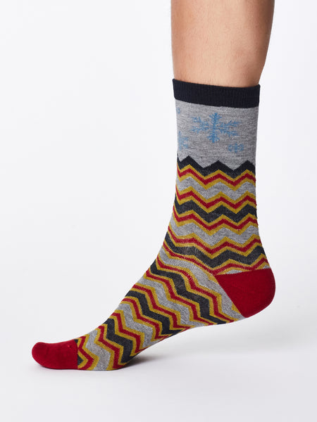 Snowflake Christmas Bamboo Socks in Grey Marle by Thought, Size 7-11-bamboofeet
