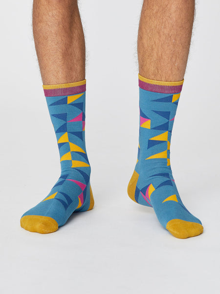 Triangle Patterned Men's Bamboo Socks in Dusty Blue by Thought-bamboofeet
