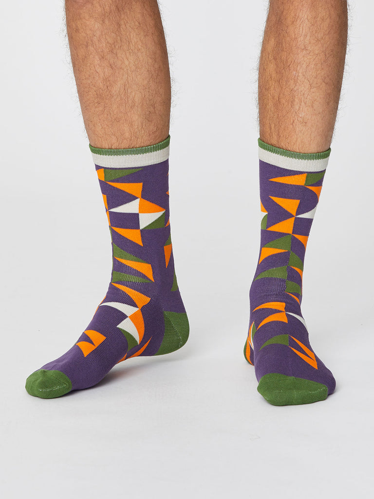 Triangle Patterned Men's Bamboo Socks in Plum by Thought-bamboofeet