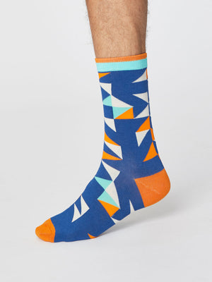Triangle Patterned Men's Bamboo Socks in Royal Blue by Thought-bamboofeet