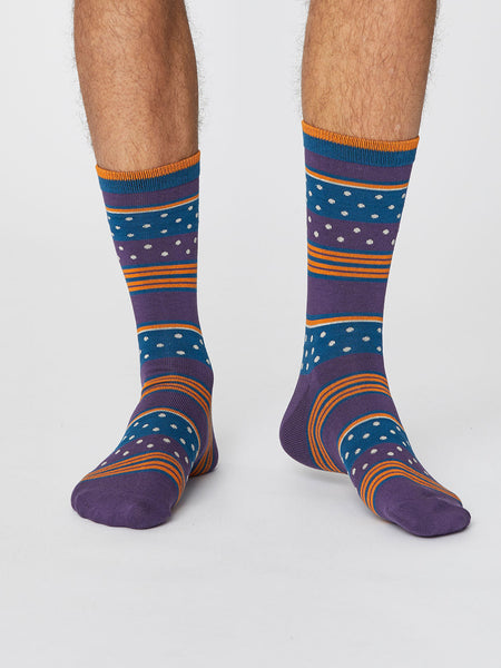 Spot and Stripe Men's Bamboo Socks in Plum by Thought-bamboofeet