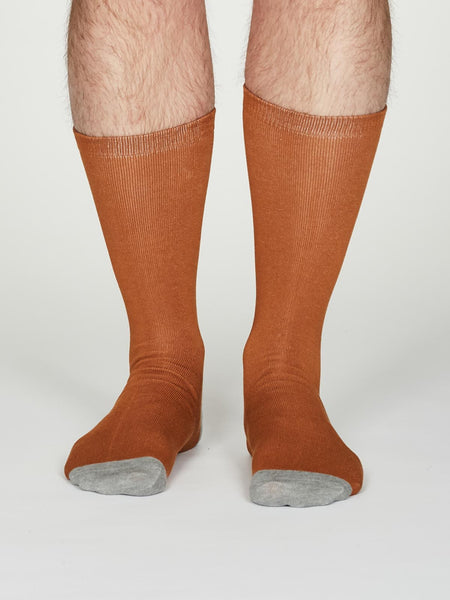 Solid Jack Bamboo Socks in Amber by Thought, Size 7-11-bamboofeet