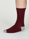Solid Jack Bamboo Socks in Aubergine by Thought, Size 7-11-bamboofeet