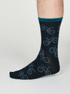 Wesley Bamboo Bicycle Socks in Navy Blue by Thought, Size 7-11-bamboofeet