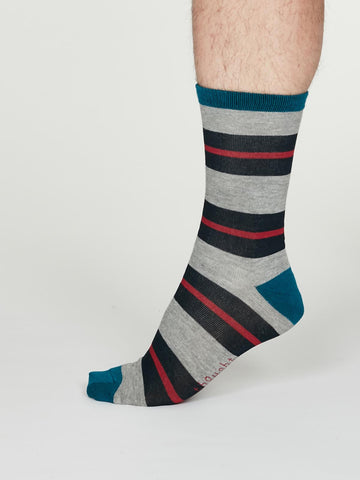 Jacob Bamboo Rugby Striped Socks in Mid Grey Marle by Thought, Size 7-11-bamboofeet
