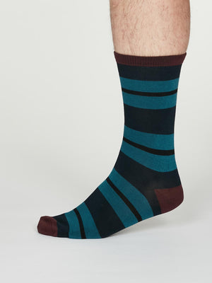 Jacob Bamboo Rugby Striped Socks in Navy Blue by Thought, Size 7-11-bamboofeet