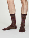 William Bamboo Multistripe Socks in Burgundy by Thought, Size 7-11-bamboofeet