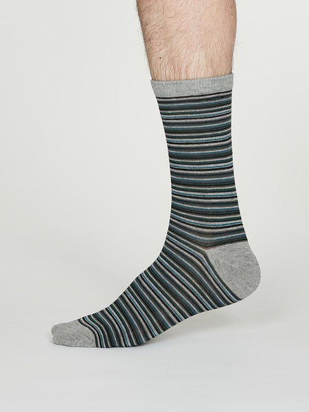 William Bamboo Multistripe Socks in Mid Grey Marle by Thought, Size 7-11-bamboofeet