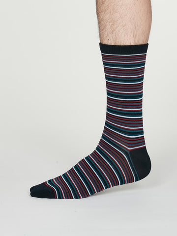 William Bamboo Multistripe Socks in Navy Blue by Thought, Size 7-11-bamboofeet