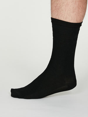 Benedict SeaCell™ Modal Diabetic Socks in Black by Thought-bamboofeet