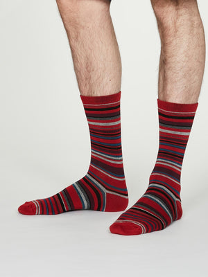Carlo Bamboo Striped Socks in Crimson Red by Thought, Size 7-11-bamboofeet