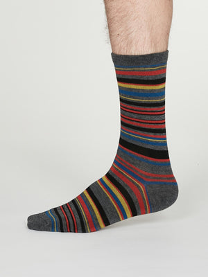 Carlo Bamboo Striped Socks in Dark Grey Marle by Thought, Size 7-11-bamboofeet