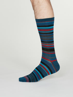 Carlo Bamboo Striped Socks in Denim Blue by Thought, Size 7-11-bamboofeet
