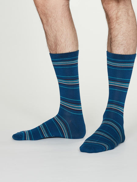 Nicholson Bamboo Striped Socks in Cobalt Blue by Thought, Size 7-11-bamboofeet
