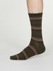 Nicholson Bamboo Striped Socks in Walnut Grey by Thought, Size 7-11-bamboofeet