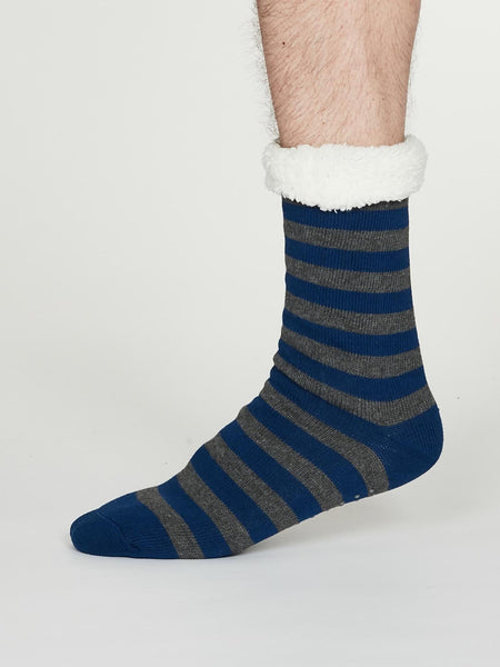 Addison Organic Cotton Cabin Socks in Cobalt Blue by Thought, Size 7-11-bamboofeet