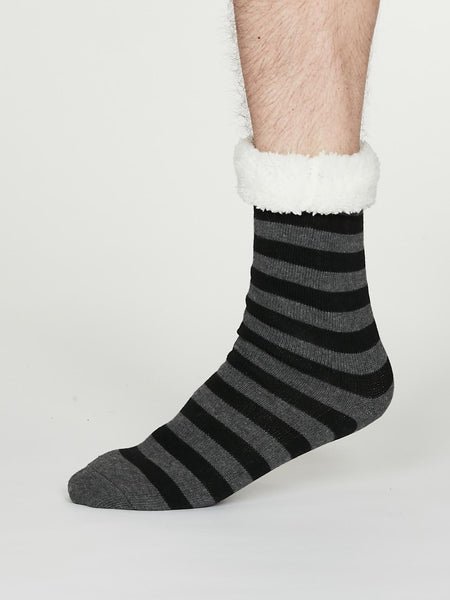Addison Organic Cotton Cabin Socks in Dark Grey Marle by Thought, Size 7-11-bamboofeet