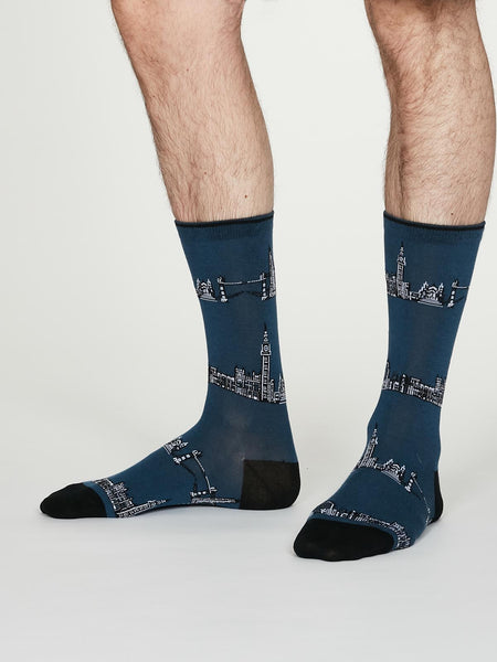 Monument Organic Cotton Socks in Denim Blue by Thought, Size 7-11-bamboofeet