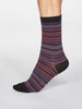 Jacob Striped Organic Cotton Socks in Black by Thought-bamboofeet