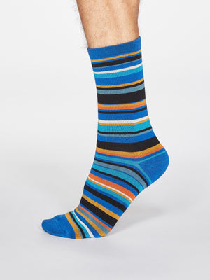Braxton Striped Bamboo and Organic Cotton Blend Socks in Bright Blue by Thought-bamboofeet