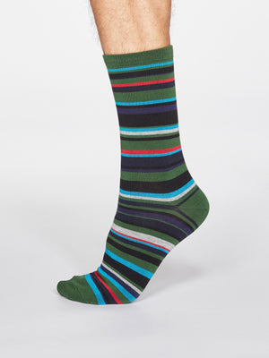 Braxton Striped Bamboo and Organic Cotton Blend Socks in Olive Green by Thought-bamboofeet