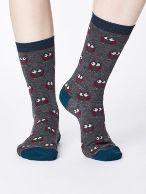 Owlie Bamboo Socks in Mid Grey Marle by Thought Size 4-7-bamboofeet