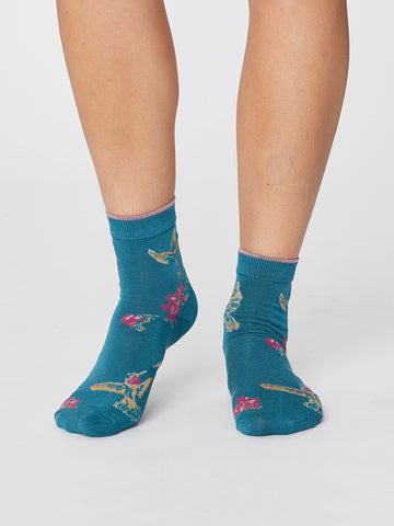 Birdy Summer Socks in Kingfisher by Thought-bamboofeet