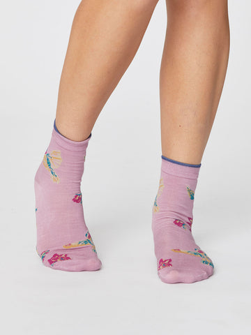 Birdy Summer Socks in Orchid Pink by Thought-bamboofeet