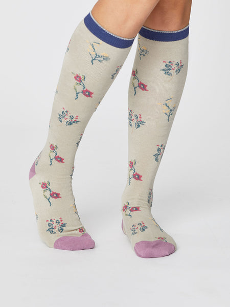 Floral Bamboo Knee Sock in Cream by Thought-bamboofeet