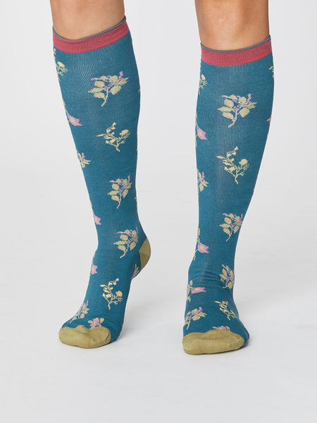 Floral Bamboo Knee Sock in Kingfisher by Thought-bamboofeet