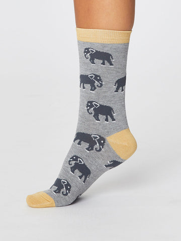 Elephant Safari Bamboo Socks in Mid Grey Marle by Thought-bamboofeet