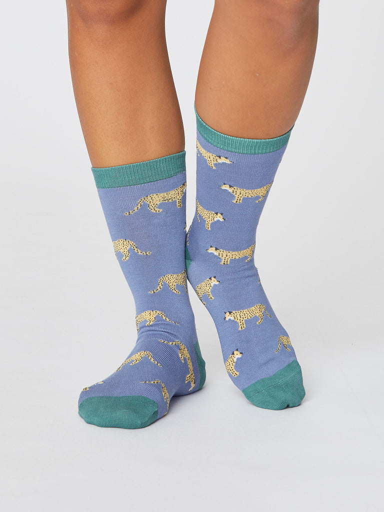 Leopard Safari Bamboo Socks in Sea Blue by Thought-bamboofeet