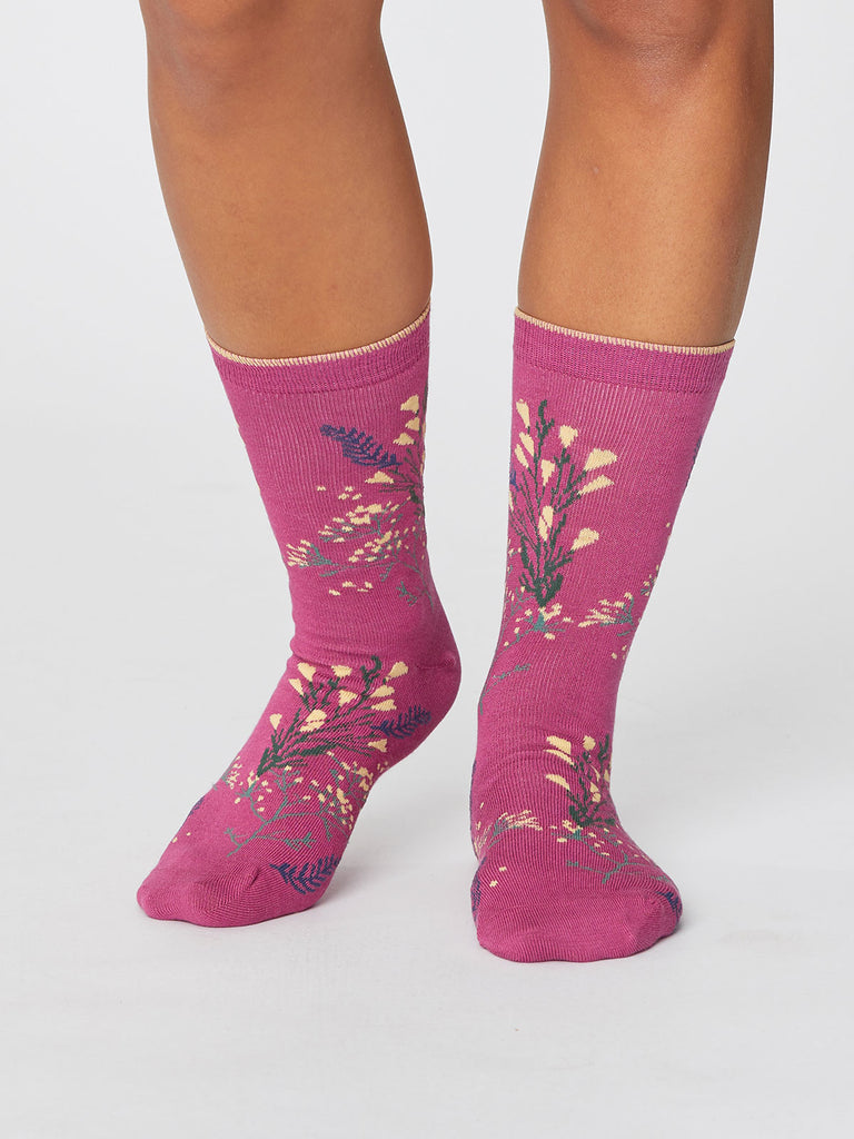 Florie Super Soft Bamboo Socks in Magenta Pink by Thought-bamboofeet