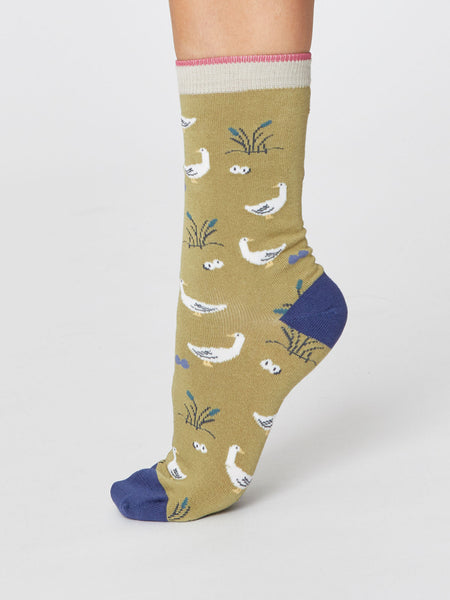 Goosey Lucy Bird Super Soft Bamboo Socks in Pear Green by Thought-bamboofeet