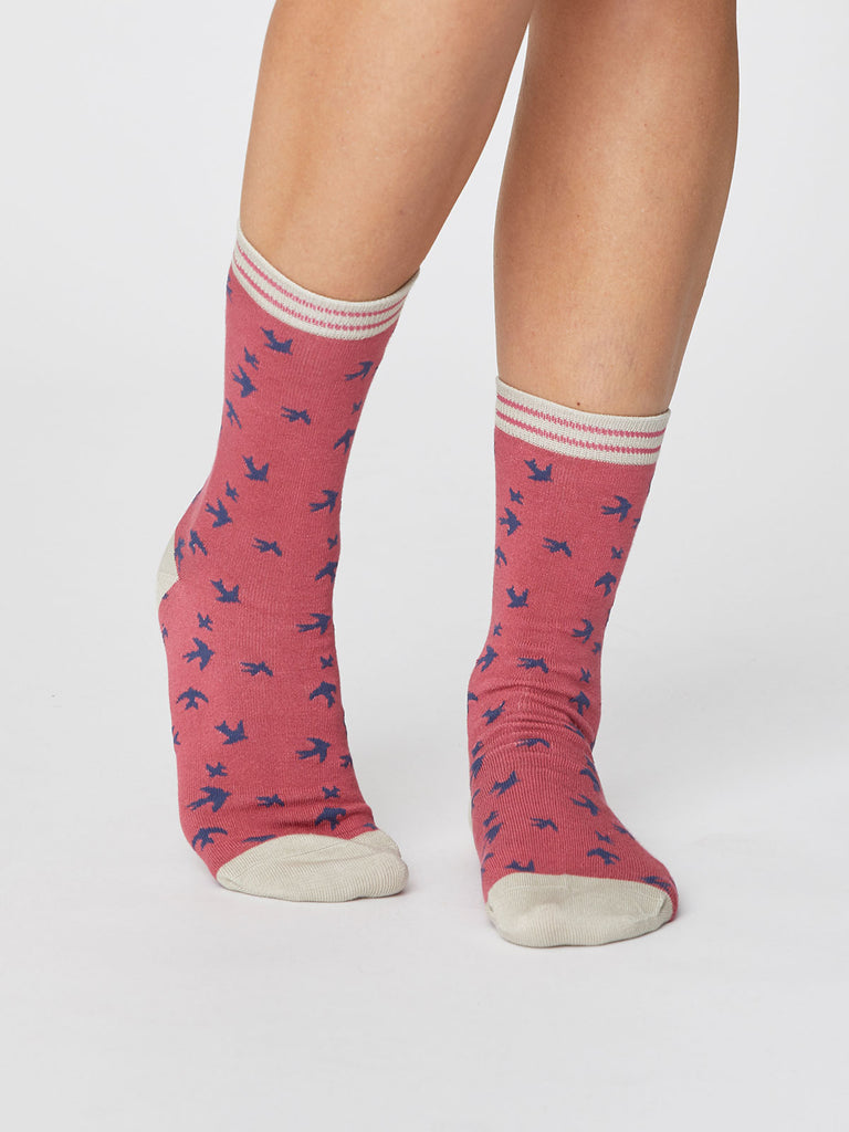 Swallow Bird Print Super Soft Bamboo Socks in Blush Pink by Thought-bamboofeet