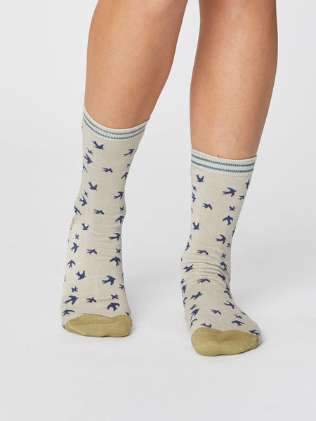 Swallow Bird Print Super Soft Bamboo Socks in Cream by Thought-bamboofeet