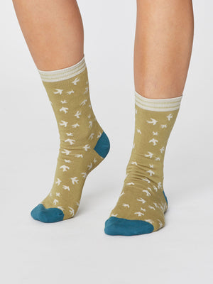 Swallow Bird Print Super Soft Bamboo Socks in Pear Green by Thought-bamboofeet