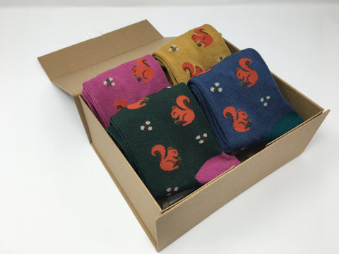 Squirrel Bamboo Socks by Thought - Multipack and Gift Box Options - Size 4-7-bamboofeet