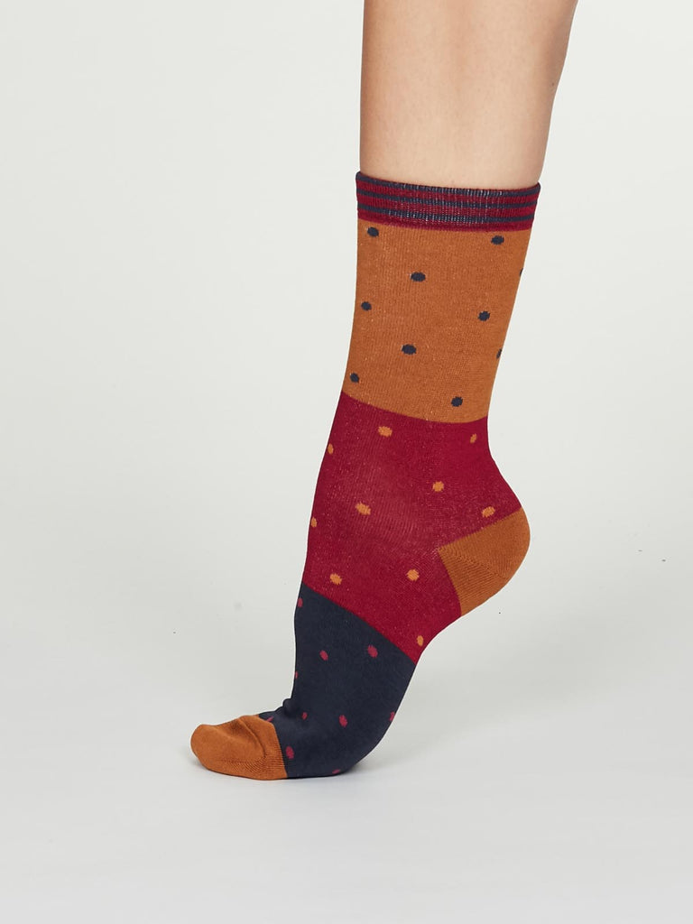 Mercy Bamboo Spot Colour Socks in Amber by Thought, Size 4-7-bamboofeet
