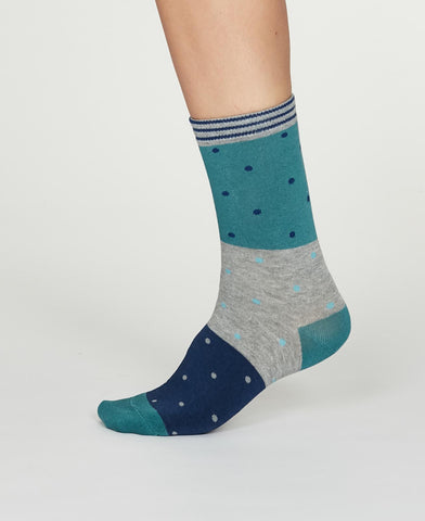 Mercy Bamboo Spot Colour Socks in Bright Turquoise by Thought, Size 4-7-bamboofeet