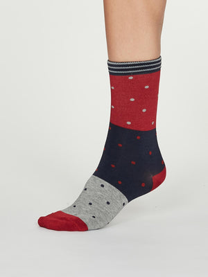 Mercy Bamboo Spot Colour Socks in Coral Red by Thought, Size 4-7-bamboofeet