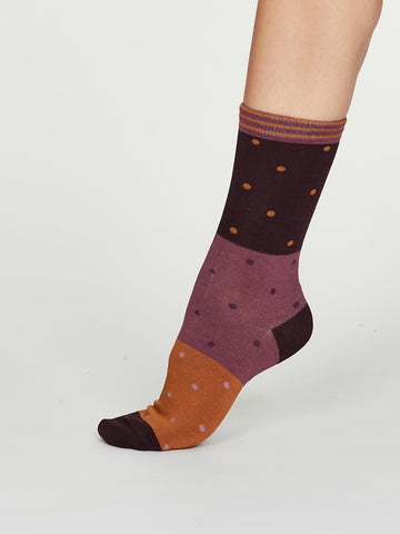 Mercy Bamboo Spot Colour Socks in Plum Purple by Thought, Size 4-7-bamboofeet