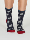 Kitty Bamboo Cat Socks in Indigo by Thought, Size 4-7-bamboofeet